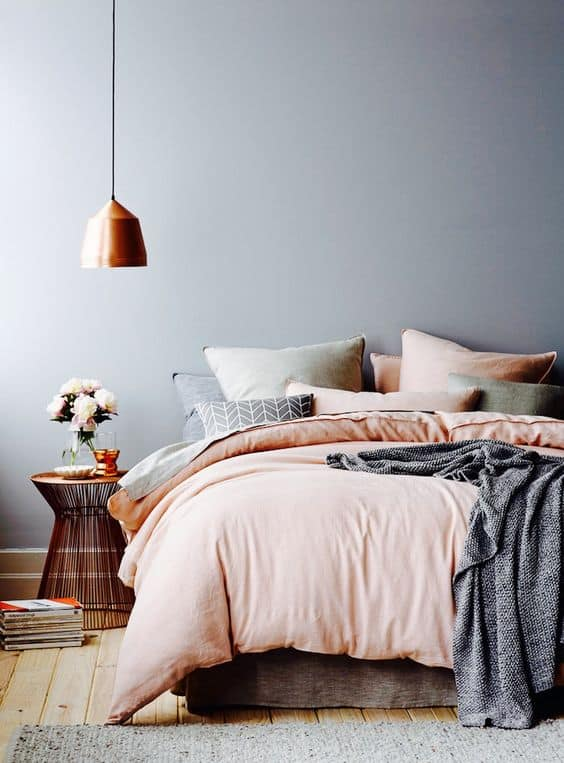 Dusky pink interiors for everyone interior design buyers for Peach and gold bedroom