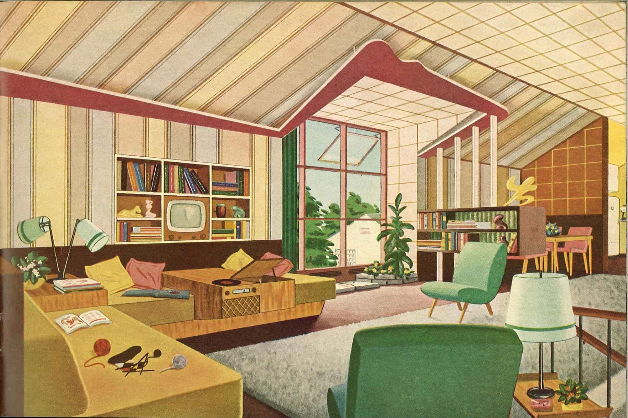 An Original Mid Century Room Green Mustard Mid Century Boho Interior Design And Styling