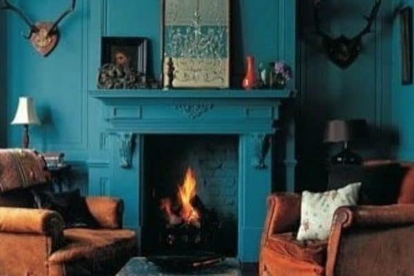 I really do like the look of the fireplace and walls all in the same colour. And how fantastic does it look in teal.