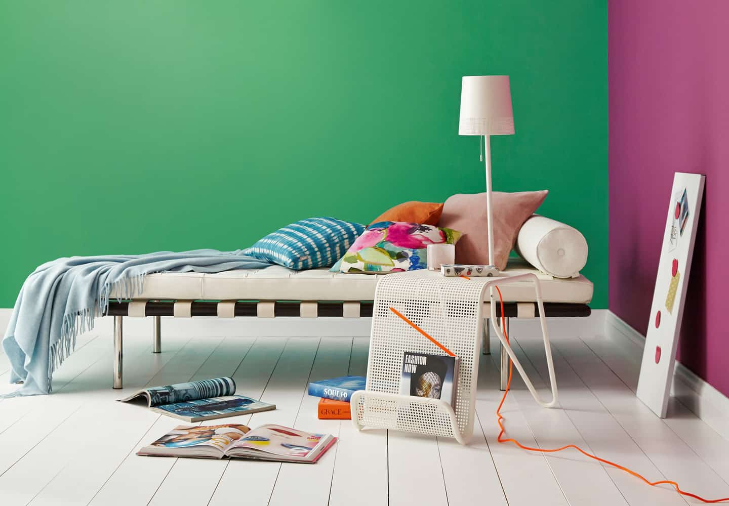 Green Sits So Well With Warm Pinks And Other Vibrant Colours, Creating A  Fun And Fresh Space.