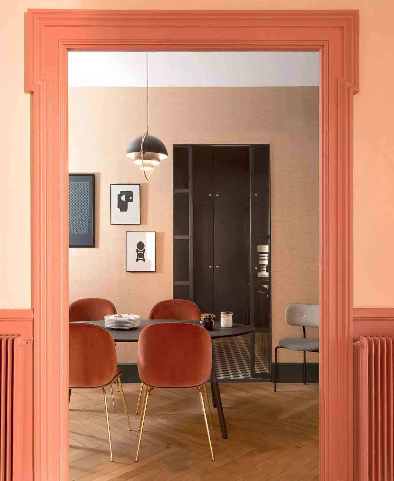 peach dining room
