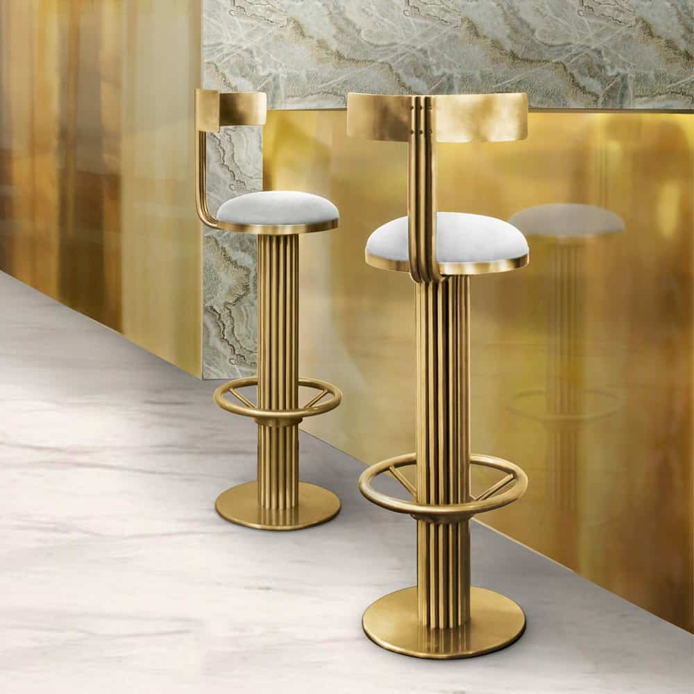 Contemporary Furniture And Stools: Go For Luxe Gold Interiors