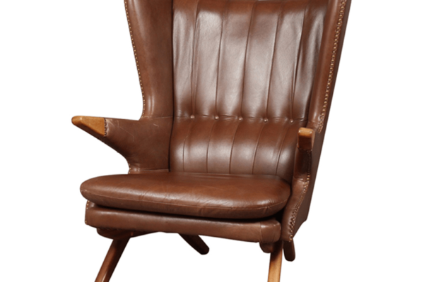 SVEND SKIPPER, MODEL 91, WING CHAIR, BROWN LEATHER