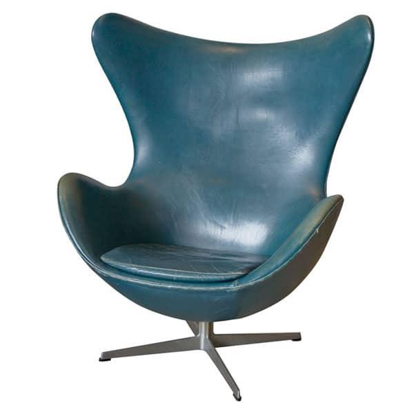 Vintage Arne Jacobsen Egg Chair In Original Bluish Leather Green Mustard Uk Interior Design Blog Inspiration For Your Home