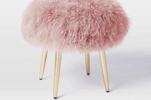 Pink Mongolian Lamb Stool