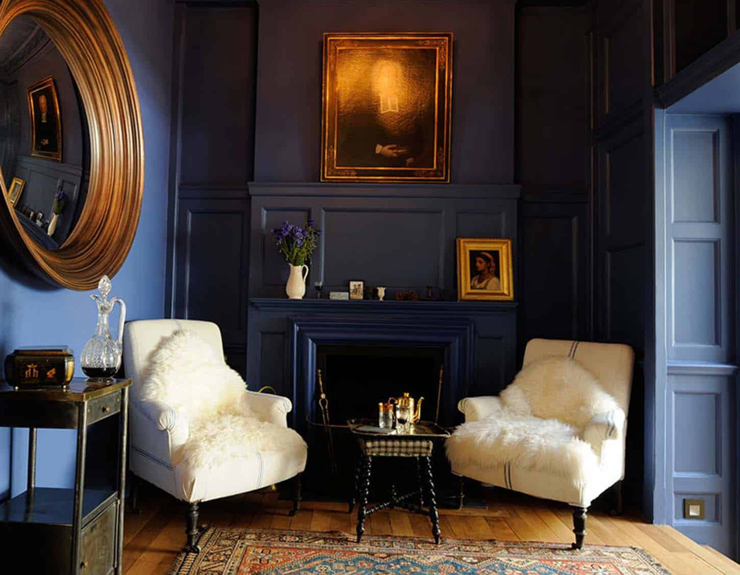 Moody Blue and Gold Interiors