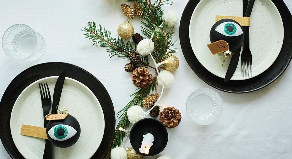 Monochrome christmas table setting