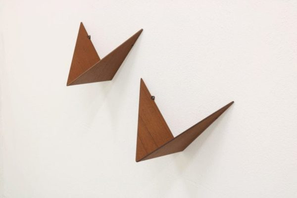 POUL CADOVIUS, PAIR OF BUTTERFLY SHELVES, TEAK