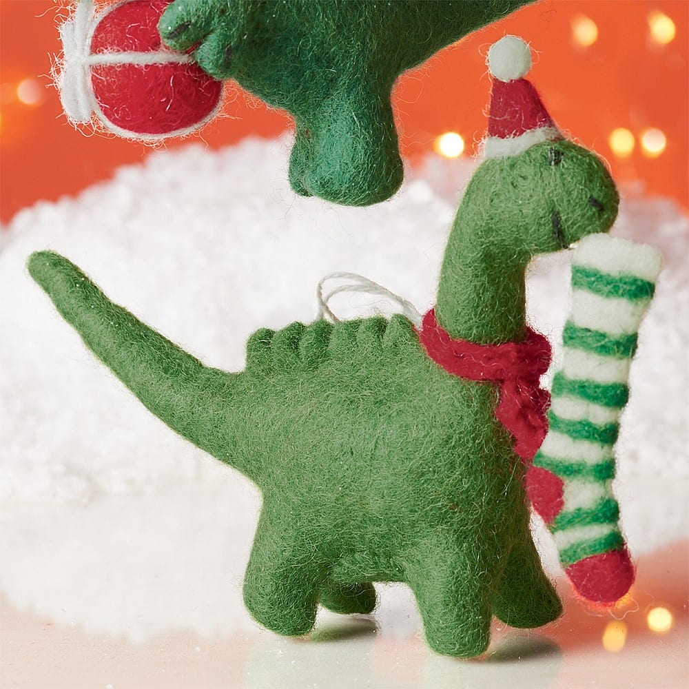 Felt Christmas Decorations Uk.Felt Dinosaur Christmas Decoration Green Mustard Uk
